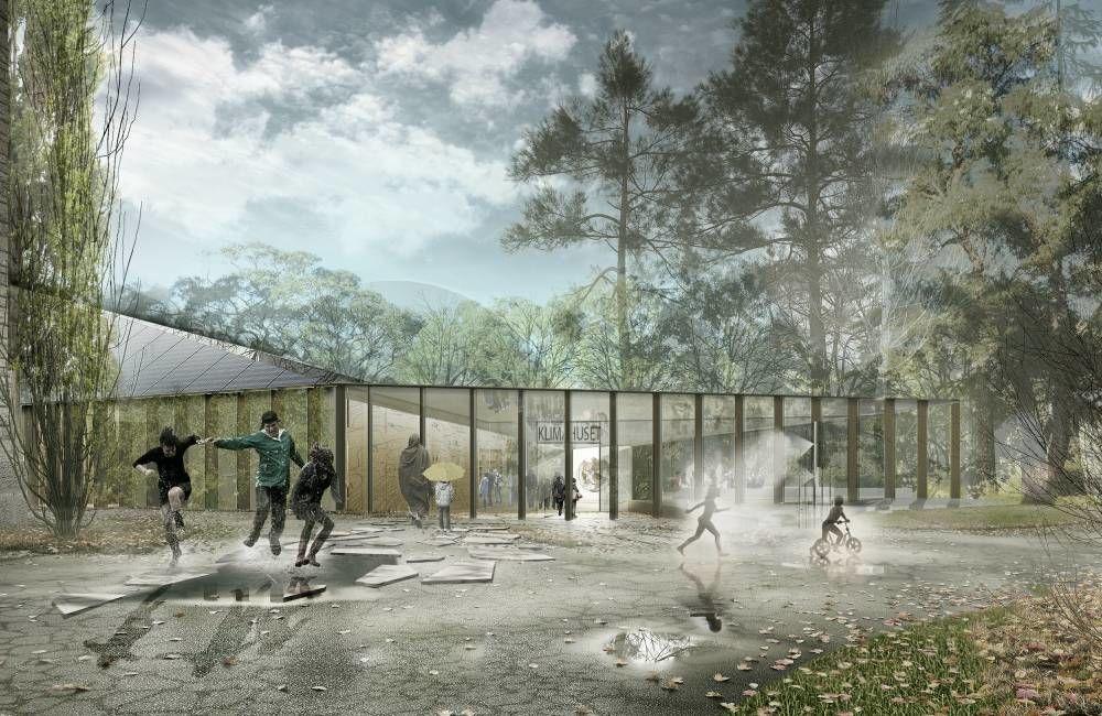 Klimahuset er et nytt utstillingsbygg i Botanisk hage som skal formidle kunnskap om klimaendringer og jordens klima. Bygget blir et forbildeprosjekt i FutureBuilt. Ill.: Lund Hagem, Atelier Oslo