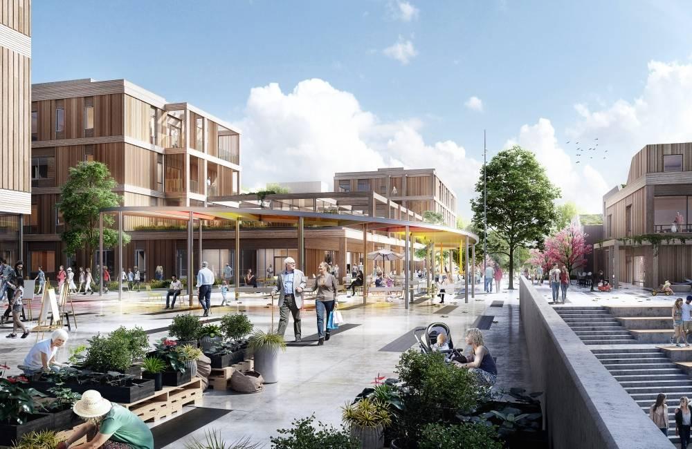 Okensøya er et av prosjektene du får høre mer om på webinaret. Ill.: Arkitektgruppen Lille Frøen AS og Arkitema Architects