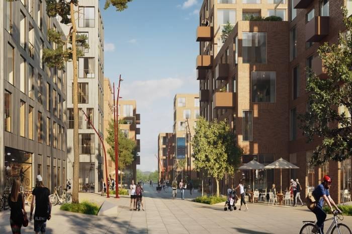Nansenløkka på Fornebu planlegges bilfritt i dagen (kun nyttetransport, flytting og brannbil) og det etableres tre sykkelparkeringsplasser per bolig. Utbygger: OBOS Fornebu. Arkitekt: Dyrvik Arkitekter AS, Transborder Studio AS