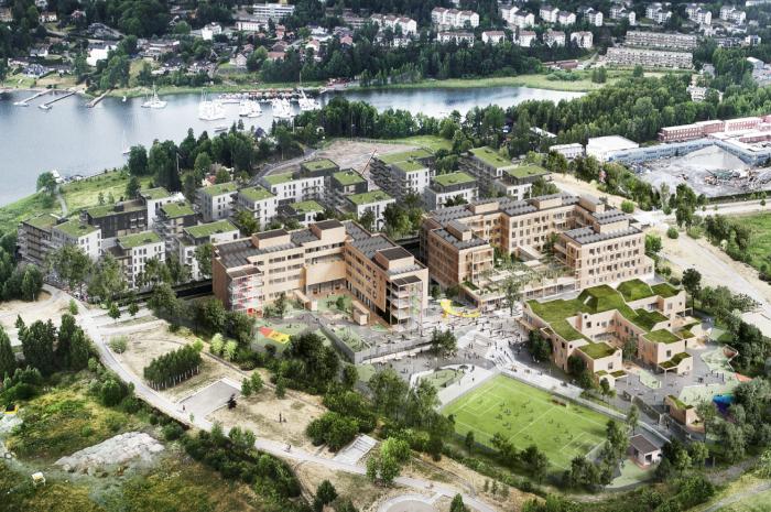 På Oksenøya Senter bygges det en 5-parallell barneskole, barnehage for 300 barn, flerbrukshall, 9'er kunstgress fotballbane, nærmiljøanlegg og bo- og behandlingssenter med 150 beboerenheter. Ill.: Arkitema Architects