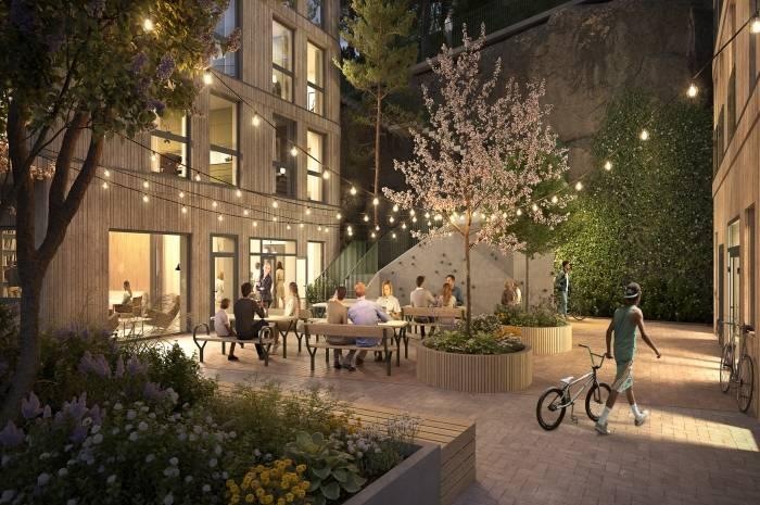 Mange ønsker å dele leilighet, og nå i Fyrstikkbakken  14 vil det bli mulig å bo i såkalte venneleiligheter. Arkitekt og ill.: LINK Arkitektur AS