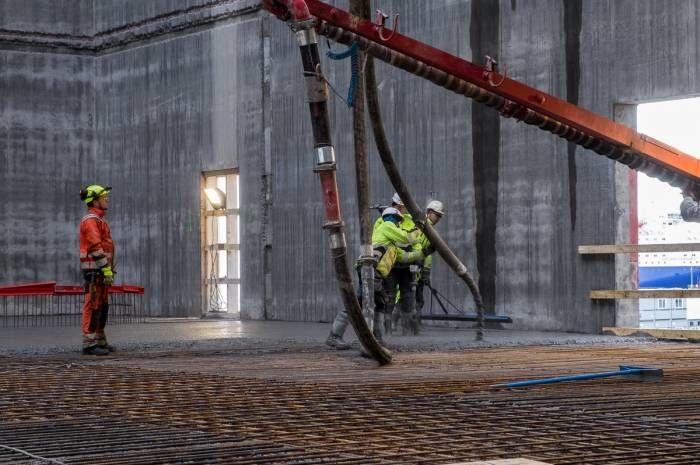 Totalt går det med 16 350 kubikkmeter med lavkarbonbetong ved byggingen av det nye Munchmuseet. Foto: Tove Lauluten