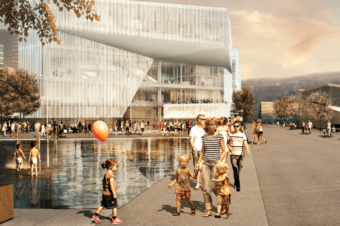 Nye Deichmanske Hovedbibliotek er et FutureBuilt-prosjekt. Fredag 3. februar er det grunnstensnedleggelse med påfølgende gjestebud. Ill.: Lund/Hagem Arkitekter og Atelier Oslo
